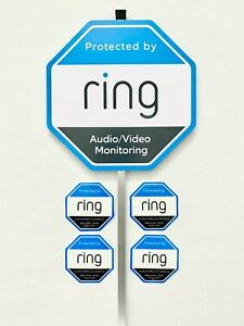 Home Ring Security Yard Sign 4 Double Sided Window/Door Sticker w/ Aluminum Pole