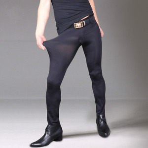 Men's pants ice silk see-through high stretch tight trousers tight pencil pants