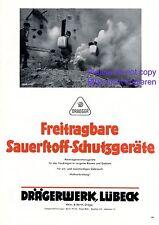 Atemschutz Gerät Dräger Lübeck XL Reklame 1940 Sauerstoff Gas & Rauch Gasmaske +