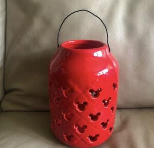 "Disney Mickey Mouse Red Ceramic Lantern Garden Lanterns Handle 7"" NEW X2"