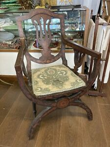 Antique Arts And Crafts Art Nouveau X Frame Inlaid Chair