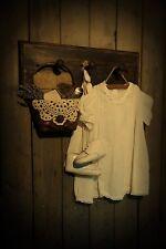 Primitive Rack~Vintage Baby Dress & Shoes~Baby Book~Basket~Soap~Towel~Gathering