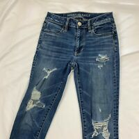 AMERICAN EAGLE SZ 0 Womens Distressed SUPER STRETCH HI Rise Denim JEGGING