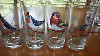 Vintage Federal Glass Bird Tumblers Glasses 4 12oz painted flat bottom glasses