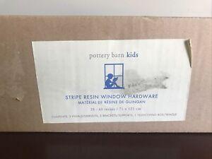 "Pottery Barn Kids Curtain Rod 28-48"" Brushed Nickel W/Resin Green Strip Finials"