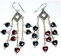 Carnelian/Blue Sand Stone Heart Earrings, Multi Hearts Carnelian Silver Earrings