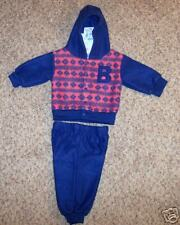 "Hooded Fleece""Small Steps"" 6/9 Mo Blue/Red 2 Piece Set"
