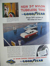 1956 Good Year Original Print Ad-New 3 T Nylon Tubeless Tire-8 1/2 x 10 1/2 Inch