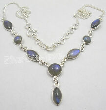 925 Sterling Silver BLUE FIRE LABRADORITE ASTONISHING HUGE Amazing Necklace NEW