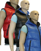 Mens Hooded Puffer Body Warmer Waistcoat Warm And Coloured Zip Blue Red Black
