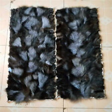 Silver Fox Fur Black Real Fox Blanket & Real Fur Carpet Rug Throw Suede 50x100cm