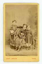 PHOTO CDV 1870 Tours LANGLOIS, une fratrie pose mode fashion