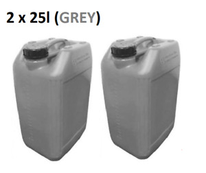 2 x 25 LITRE 25L PLASTIC BOTTLE JERRY CAN WATER CONTAINER CANISTER - GREY