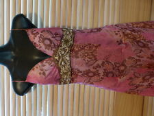 Seduce Dress Size 10 Pink/Brown Print, Beaded Detail Under Bust, $40