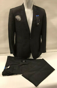 """Mens Immaculate F+F Black One Button Suit Jacket 50R Trouser 44""""/29L"""