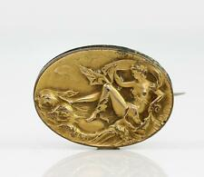 Vintage Antique Victorian Gold Filled Repousse Goddess Pin Brooch Pendant QX