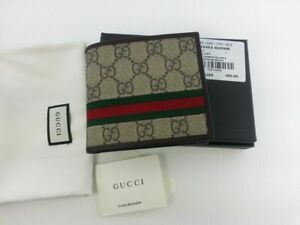 Authentic Gucci Mens GG Supreme Web Bifold Canvas Wallet w/ Coin Pocket