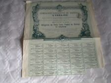 Vintage share certificate Stock action compagnie Parisienne voitures L'urbaine
