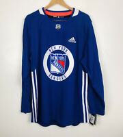 New Adidas New York Rangers Practice Jersey Blue Men's Size 52 Large $120 CA7214