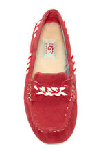 UGG AUSTRALIA GENOA MOCCASINS SLIPPERS RED SUEDE WOOL LINED LOAFERS SZ 6 NEW