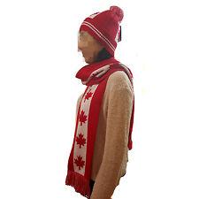 CANADA Flag Design Knit Pom Skull Cap And Scarf Set