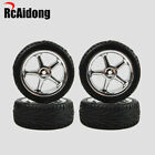 RC 1:10 Rubber Flat Racing Tires W/Wheel Rims 12mm Hex for Yokomo MST JXR Redcat