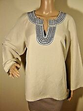 SHERRY TAYLOR women's XL Embellished Beige Notched V LINEN LIKE Side Slit Tunic