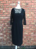 Jaeger Black Lace 3/4 Sleeved Pencil Dress Size 12 Fitted Dress B22