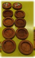10pcs 12mm inner Antique Wooden Wood Cameo Cabochon Base Setting / Tray / Bezel