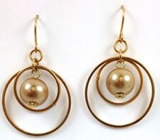 Gold Hoop Multi Circle Pearl Drop Dangle Earrings 1 Inch wide and long