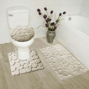 NEW MEMORY FOAM BATHROOM SET DESIGN STANDS OUT WITH RUBBER BACKING SOLID ROCK