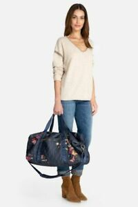 Johnny Was Quilted Denim Blue Duffel Weekender Tote Bag Embroidery Hippie NEW
