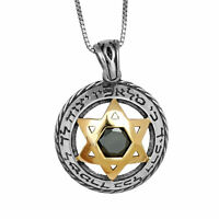 Pendant Star of David w/ Black Onyx Gemstone Gold 9K Sterling Silver Necklace