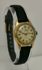 Vintage 1950s Avia Automatic 17 Jewels Swiss Red Second Hand Ladies Wrist Watch