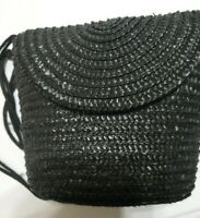 Cappelli NWT Purse Black Straw Snap Flap Front. Double Long Strap.Adult Or Child