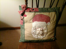 Country Christmas Santa decorative throw pillow gingham & buttons hand made