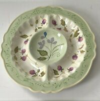 Vintage Tracy Porter Tray Platter Evelyn Floral Berry 3 Section Server
