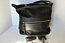 Diophy Faux Leather  Causal Zipper Hobo Large Handbag Black