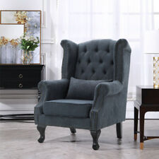 Tibetan Grey High Back Chair Chesterfield Queen Anne Fireside Winged Armchair