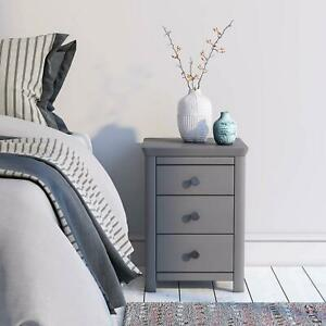 Grey Painted Bedroom 3 Drawer Bedside Table Unit Cabinet Nightstand Glass Top