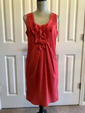 NWOT!! RACHEL ROY CORAL RED DRESS WITH FRONT PLEATING AND DRAPING SIZE 10