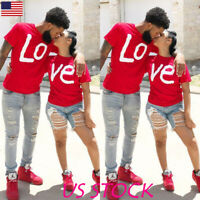 Mens Womens Couple T Shirt Funny LOVE Letter Print Cotton Clothes Summer Tops US