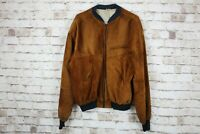 Brown Leather Bomber Jacket size L No.M715 08/3
