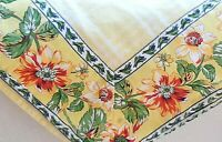 Vintage Williams Sonoma Tablecloth - Yellow Check - Floral Border French Country