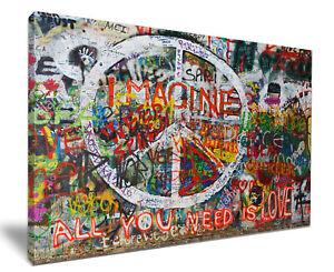 World Peace Graffiti Art HD Framed Canvas Wall Art Picture Print