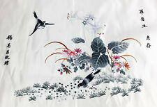 Antique Vintage Chinese Embroidered Birds Scene Embroidery Silk