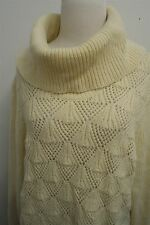 LIZ CLAIBORNE tan heavy knit cowl neck sweater top pullover sz XL womens #8945
