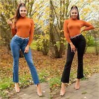 Jeans Damen High Waist Bootcut Jeans Jeanshose mit Schlitz