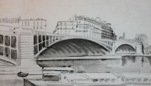 Vintage ink drawing cityscape bridge