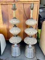 Pair of Vintage Mid Century Cork Table Lamps - With Or Without Shades - Stunning